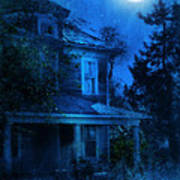 Haunted House Full Moon Art Print by Jill Battaglia