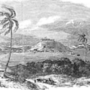 Havana, Cuba, 1851. /na View Of The Harbor And Fort Of Atares. Wood Engraving, English, 1851 Art Print