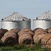 Hay And Grain Bins Art Print