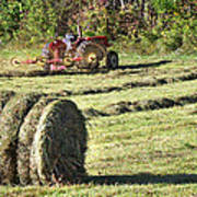 Hay Bale And Tractor Art Print