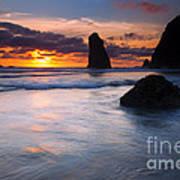 Haystack Sunset Art Print