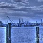 Hdr Fishing Boat Across The Jetty Art Print by Pictures HDR