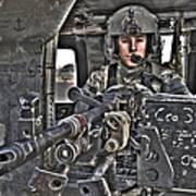 Hdr Image Of A Uh-60 Black Hawk Door Art Print