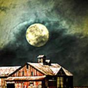 Hdr Moon And Barn Art Print