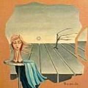 Head In Wind Surrealistic Frame Boards Tree And Hair Waving In Wind Beige Blue Grey Art Print