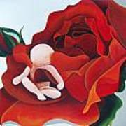 Healing Painting Baby Sitting In A Rose Art Print
