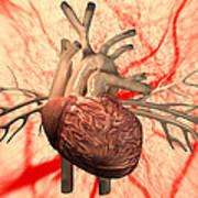 Heart, Computer Artwork Art Print by Equinox Graphics