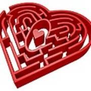 Heart Maze, Computer Artwork Art Print