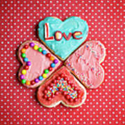 Heart Shaped Love Cookies Art Print