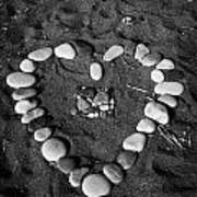 Heart Symbol Made Out Of Pebbles On The Beach At Aphrodites Rock Petra Tou Romiou Cyprus Art Print