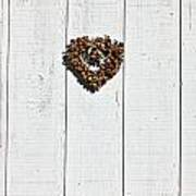 Heart Wreath On Wood Wall Art Print by Garry Gay
