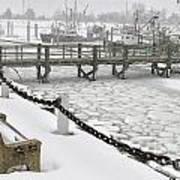 Heavy Snow Falls At Sandwich Marina In Sandwich On Cape Cod Art Print