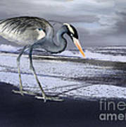 Heron Taking His Afternoon Beach Walk Print by Danuta Bennett
