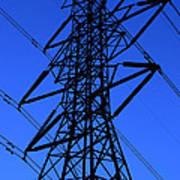 High Voltage Power Line Silhouette Art Print