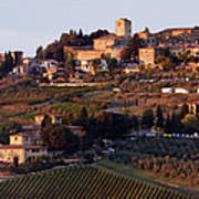 Hill Town Of Panzano At Dusk Art Print by Jeremy Woodhouse