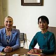Hillary Clinton Visited Daw Aung San Art Print