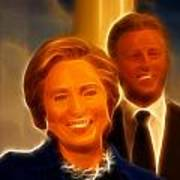 Hillary Rodham Clinton - United States Secretary Of State - Bill Clinton Print by Lee Dos Santos