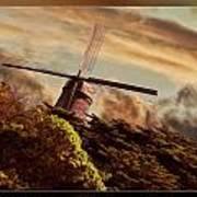 Hillside Windmill Art Print