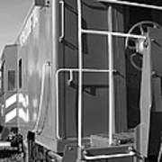 Historic Niles District In California Near Fremont . Western Pacific Caboose Train . 7d10622 . Bw Art Print by Wingsdomain Art and Photography
