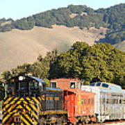 Historic Niles Trains In California . Old Southern Pacific Locomotive And Sante Fe Caboose . 7d10819 Art Print