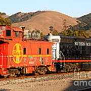Historic Niles Trains In California . Old Southern Pacific Locomotive And Sante Fe Caboose . 7d10843 Art Print