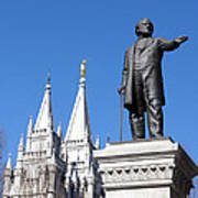 Historic Salt Lake Mormon Lds Temple And Brigham Young Art Print