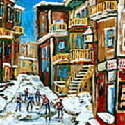 Hockey Art In Montreal Art Print