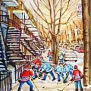 Hockey Game Near Winding Staircases Art Print