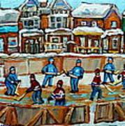 Hockey Rink Montreal Street Scene Art Print by Carole Spandau