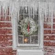 Holiday Wreath In Window With Icicles During Blizzard Of 2005 On Art Print by Matt Suess