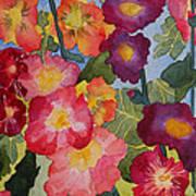 Hollyhocks In Bloom Print by Kimberlee Weisker