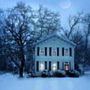 Home On A Wintery Evening Art Print