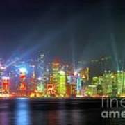 Hong Kong Night Lights Art Print