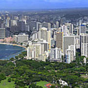 Honolulu Hawaii And Waikiki Beach Art Print