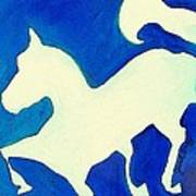 Horse In Blue And White Art Print
