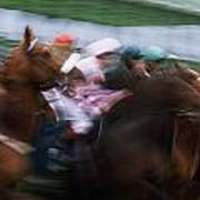 Horse Racing Horses Breaking From The Art Print
