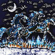 Horses Frolic On A Starlit Night Art Print by Carol Law Conklin