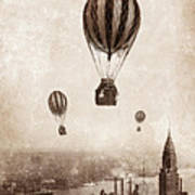 Hot Air Balloons Over 1949 New York City Art Print