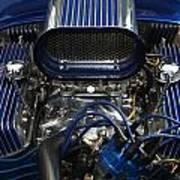 Hotrod Engine In Blue Art Print