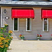 House With Red Shades. Art Print