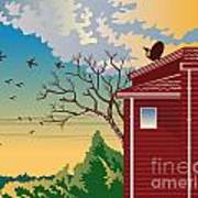 House With Satellite Dish Retro Art Print by Aloysius Patrimonio
