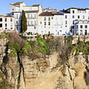 Houses On A Cliff In Ronda Town Art Print
