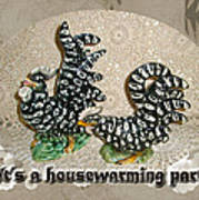 Housewarming Invitation - Black And White Chickens Figurines Art Print