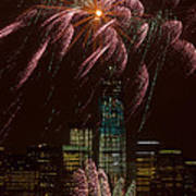 Hudson River Fireworks X Art Print by Clarence Holmes