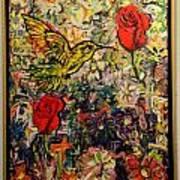 Hummingbird And Roses Art Print