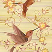 Hummingbirds - Wood Art Art Print by Vincent Doan
