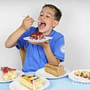 Hungry Boy Eating Lot Of Cake Art Print