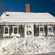 Icicles Hang From The Roof Of This Home In Barnstable On Cape Co Art Print