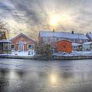 Icy River Panorama Art Print