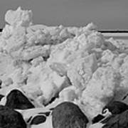 Icy Shoreline In Black And White Art Print